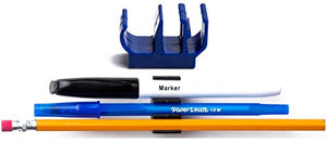 (10 pk) Blue Self Adhesive pencil pen and marker holder adhesive clip - Best mount organizer to stick on the PC monitor, whiteboard, chalkboard, etc. - Great for universities, restaurants, etc.