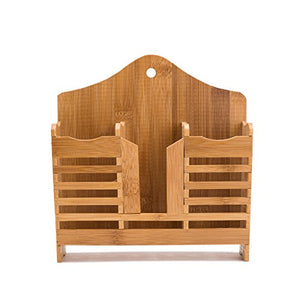 THY COLLECTIBLES Bamboo Utensil Caddy Flatware - Holder for Spoons, Knives, Forks, Chopsticks Silverware Organizer Home, Restaurant, Camper, Hang On Wall Or Table