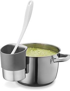 Spoon rest Stainless Steel Spoon Dock for Utensils - This Cup Hangs on Saucepans and Pots for Preparing and Serving Food Without Creating a Mess - Use as a Measuring Cup, Mix, Pouring (Grey)