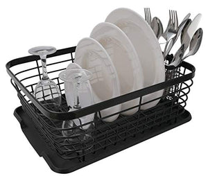 TQVAI Kitchen Dish Drainer Drying Rack with Drip Tray and Full-Mesh Silverware Storage Basket, Black