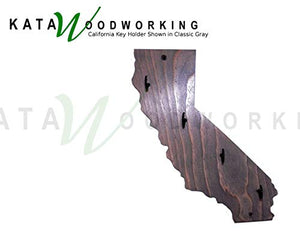 California Shaped Wood Cut-out Key Holder - Wall Mount - Handmade
