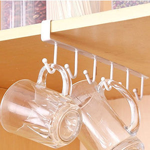 Ruimin Multi-Function 6 Hook Under Shelf Mugs Cups Wine Glasses Storage Drying Holder Rack, Cabinet Hanging Organizer Rack for Ties and Belts