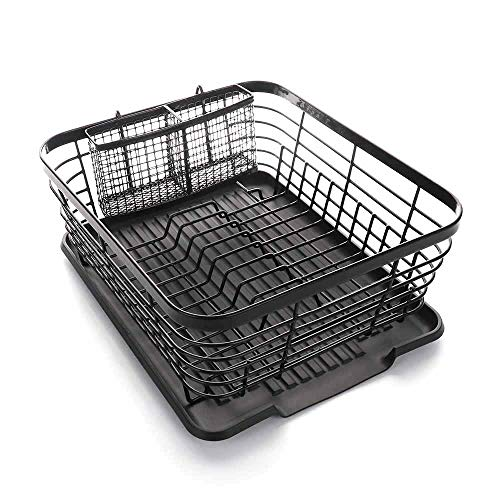 ASDOMO Dish Drying Rack Stainless Steel Dishes Drainer with Detachable Drainboard Rustproof Organizer Utensils Holder for Kitchen Counter