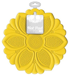 "Talisman Designs 1410 No- No-Slip Grip Hot Pad, Pot Holder and Trivet, 7.5"", Yellow"