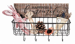 Black Wire Basket with Wooden Sign Organizer for Entryway - S-Hangers - Decorative Wood Sign - Sawtooth Hanger - Wall Mount - Keys, Phone, Wallet, Mail Holder