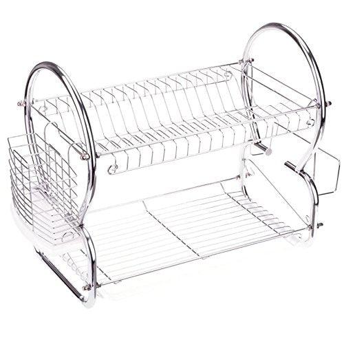 Kitchen Two Tier Stainless Steel Dish Drainer Drying Rack with Drain Board, Metal Dish Rack Utensil Cutlery Plate Chopstick Chopping Block Holder Organizer, 17 x 10 x 15 inch (L x W x H) (Silver-3)