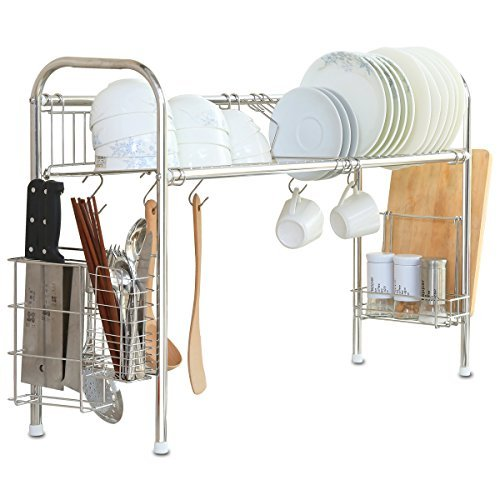 1208S Over the sink Stainless Steel Dish Drying Rack, Double Groove, Single-layer