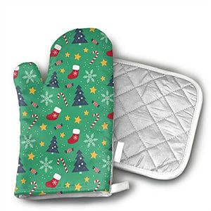TRENDCAT Merry Christmas Candy Shoes Oven Mitts and Potholders (2-Piece Sets) - Extra Long Professional Heat Resistant Pot Holder & Baking Gloves - Food Safe