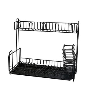 SK Studio Large Capacity 2 Tier Dish Rack and Drainboard Set with Utensil Holder