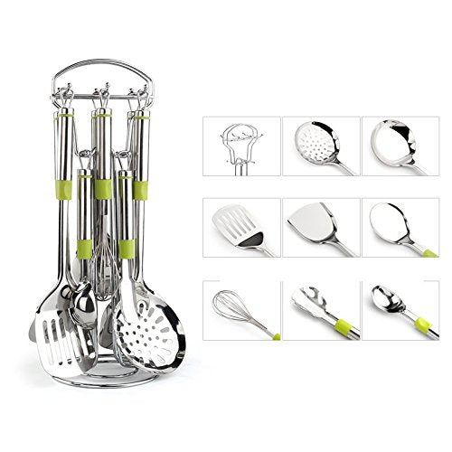 WORTHBUY B02250 9-Piece Stainless Steel Kitchen Utensil Set &Cookware Set(Turner, Egg beater, Leakage shovel,Soup Leak,Spoon, Ladle,Utensil Organizer ,Disc HolderX2)