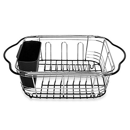 Power Brand Over Sink Dish Drying Rack Expandable Dish Drainer For Kitchen Sink, Black, with Utensil Holder