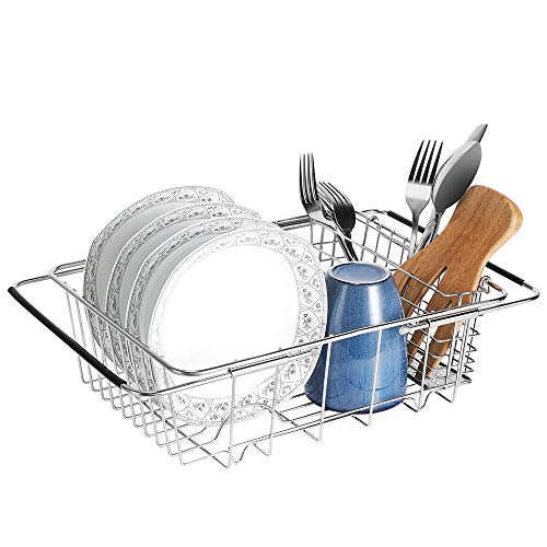 E-Gtong Expandable Dish Drying Rack, 304 Stainless Steel Dish Drainers with Utensil Holder and Adjustable Arms, Storage Basket Over the Sink, In Sink,On Counter Dish Drainer Rustproof Organizer Medium