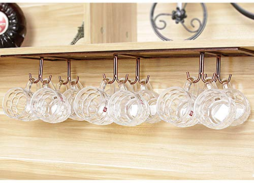 Qianniu Retro Creative Under Cabinet 12 Hook Shelf, Mugs Coffee Cups Wine Glasses Storage Drying Rack, Cabinet Hanging Shelves, Organizer for Ties and Belts, Upside Down Wine Glass Holder (Bronze)