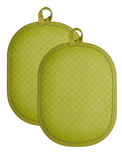 "Rachael Ray Cotton Pot Holder/Hot Pad & Trivet with Silicone Grip, Heat Resistant up to 500 Degrees, Material, 12x7.5"", Green 2pk"