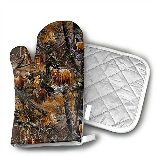 TRENDCAT Camo Hunting Deer Bear Moose Turkey Duck Oven Mitts and Potholders (2-Piece Sets) - Extra Long Professional Heat Resistant Pot Holder & Baking Gloves - Food Safe