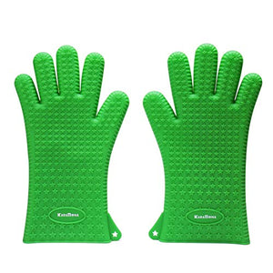 KaraMona Large Silicone Oven Mitts Heat Resistant Extra Long and Thick Green, Large Silicone Oven Gloves And Pot Holders, Silicone Cooking Gloves, Silicone Kitchen Mitts for Oven Grill BBQ