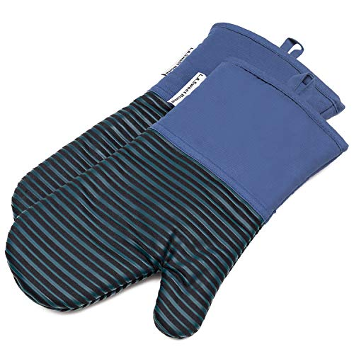 Silicone Oven Mitts 464 F Heat Resistant Potholders Striped Pattern Cooking Gloves Non-Slip Grip for Kitchen Oven BBQ Grill Cooking Baking 7x13 inch as Christmas Gift 1 pair (Blue) by LA Sweet Home
