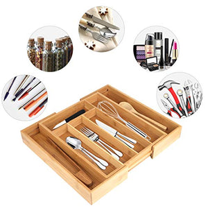 Utensil Drawer Organizer, Cutlery Tray Desk Drawer Organizer Silverware Holder Kitchen Knives Tray Drawer Organizer, Bamboo Expandable Adjustable Cutlery