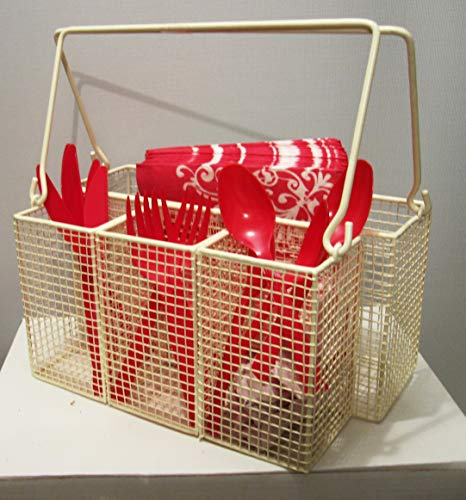 Utensil Caddy Multi-Purpose Steel Mesh Great for Kitchen, Dining, Entertaining, Tailgating, Picnics, Silverware, Napkin Holder, and Condiment Organizer