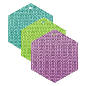 Lamson Honeycomb HotSpot Pot Holder/Trivet 3 piece Set, Coastal Colors with Aqua, Lime, and Pink