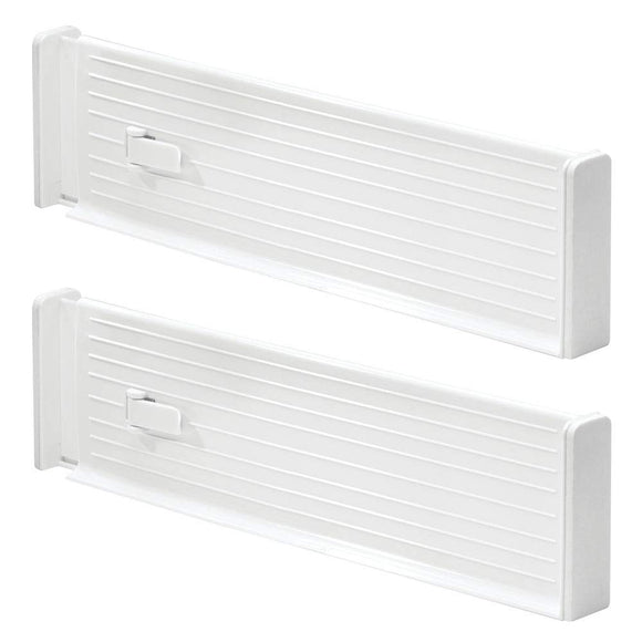 mDesign Adjustable Deep Drawer Organizer Dividers for Kitchen or Dresser - Pack of 2, White