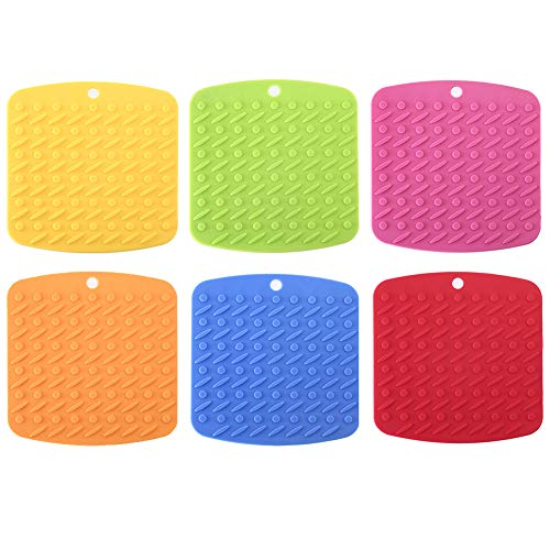 Silicone Pot Holder 6PCS Silicone Trivet Mat, Pot Holder,Trivets,Hot Mitts,Spoon Rest And Garlic Peeler Non Slip,442 F Heat Resistant,Thick And Flexible,FDA