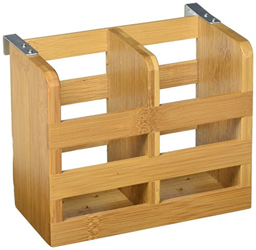 Lipper International 8823 Bamboo Wood 2-Compartment Flatware Holder with Metal Clips, 6-1/4