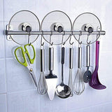 Tevizz Kitchen Utensil Rack,Wall Mounted Hanger,Space Saver Stainless Steel Rack Rail Storage Organizer Kitchen Tools for Hanging Knives, Spoon,Pot and Pan with Removable S Hooks