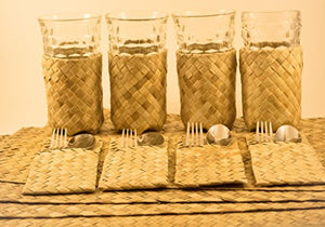 Lauhala Dining Place Settings Set of 4 (Placemats, Utensils Organizer & Glass holder)