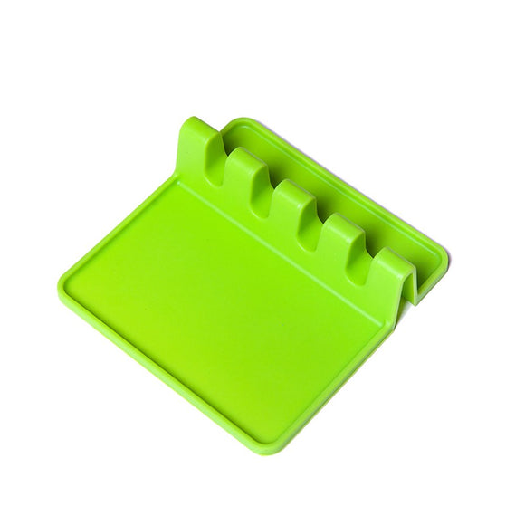 Heat Resistant Ladle Fork Mat - Ehonestbuy Silicone Spoon Holder Utensil Rest Kitchen Tool (Green)