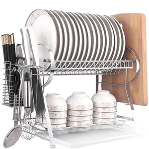 MICOE Dish Drainer Drying Rack with Cutting Board Holder 2 Tier Large Capacity WDT2002