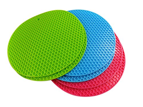 Premium Value Set of 6 Silicone Trivets / Pot Holder / Coaster / Placemat/ by MERRY BIRD