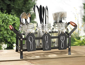 HC Classic Mason Jar Flatware in Caddy with Handles and Chalkboard Signs