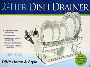 2 Tier Chrome Plated Steel Dish Drainer Space Saver White