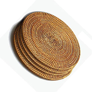 Xelparuc Rattan Trivets for Hot Dishes-Insulated Hot Pads,Durable Pot holder for Table,Coasters, Pots, Pans & Teapots,Natural Wooden Heat Resistant Mats for Kitchen,Set of 4,Round 7.08""