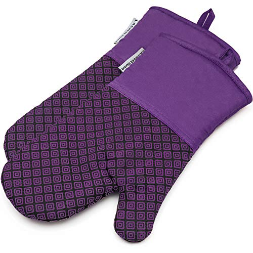 LA Sweet Home Silicone Oven Mitts Greek Key Pattern Heat Resistant Potholders Cooking Gloves Non-Slip Barbecue Gloves, Pot Holders,1 Pair(Purple)