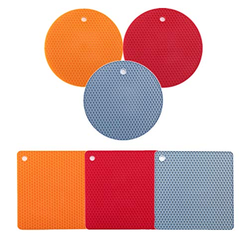 Silicone Pot Holders?Non-slip Hot Pads?Multi-Purpose Silicone Trivet Mat? Hot Pads Spoon Rest ? Jar Opener & Coasters- Heat Resistant Antislip Place Mat by Dorihom?Set of 6?