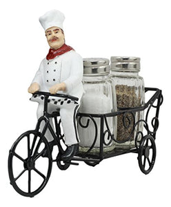 "Ebros French Bistro Chef Riding On Bicycle Spice Cart Salt And Pepper Shakers Holder Figurine 6""Tall Iron Chef Spice Delivery Home Kitchen Spice Organizer Decorative Statue Chefs Cooks Bakers Culinary"
