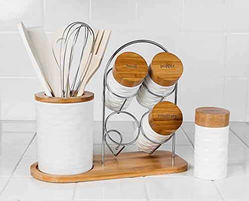 MW2209 15 Pcs Porcelain Utensil Holder and Spice Rack Set with Spice Jars & Bamboo Utensils