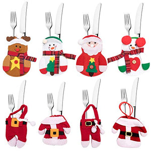 8 Pcs Christmas Silverware Holder,4PCS Clothes Suit Xmas Cutlery Holders + 4PCS Snowman Santa Fork Spoon Knife Pockets Cover Tableware Bags, Christmas Decor Table Dinner Ornaments Party Home Restauran