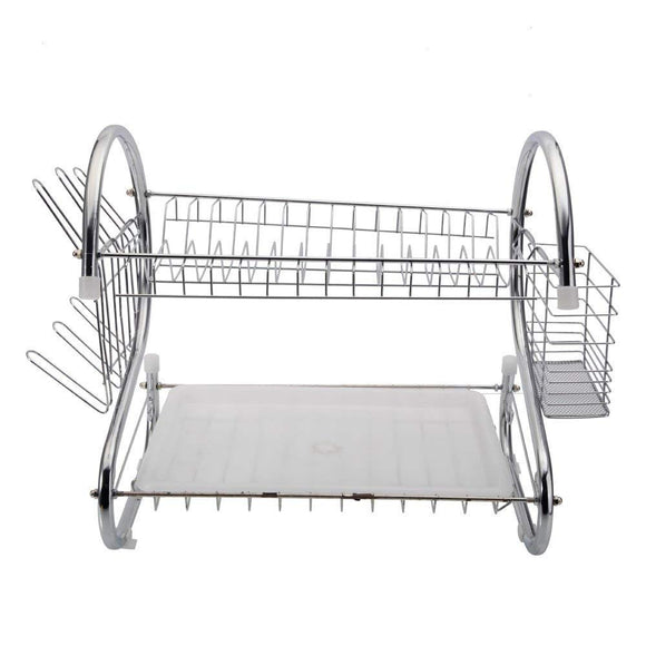 Lantusi 2 Tier Dish Drying Rack Kitchen Multi-function Stainless Steel Utensil Holder with Drainboard, 17.2 x 9.8 x 14.8 inch, Silver(US STOCK)