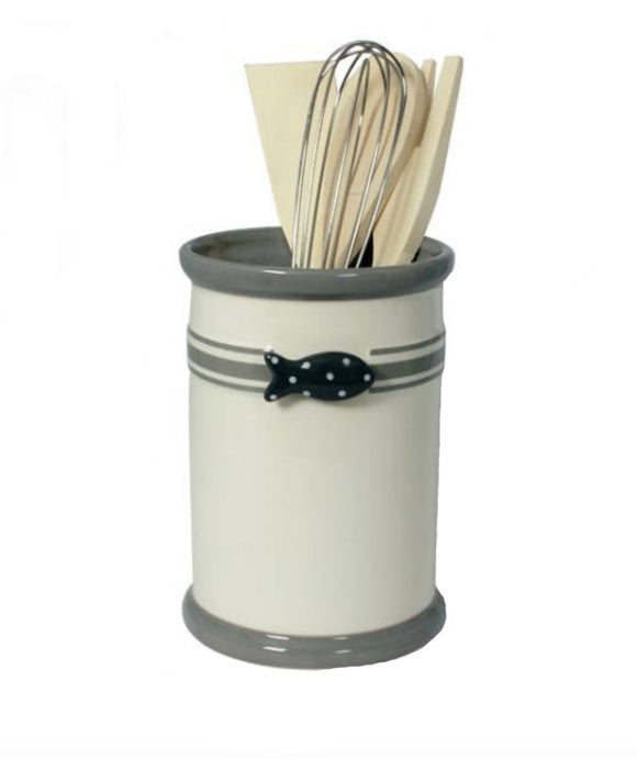 013416 Ceramic Utensil Holder with Fish Design and Kitchen Utensils
