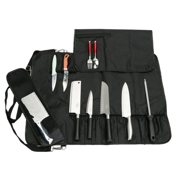 Chef Knife Roll Bag Multi-Purpose Chef Knife Case with Zippered Mesh Pocket Handle and Shoulder Strap, Holds 12 Knives, 1 Meat Cleaver, And 3 Utensil Pockets CYGJB34
