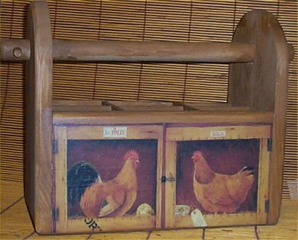 Utensil Holder Wood Rooster Country Handcrafted Kitchen Storage Caddy Solid Pine