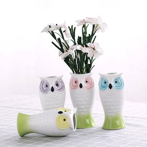 Yosou Home Ceramic Owl Utensil Holder/Decorative Owl Vase Vase/ Office Pencil Holder Pen Container,Set Of 4