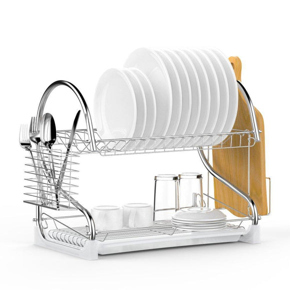 Dish Drying Rack, Ace Teah Upgrade 2 Tier Plated Chrome Dish Dryer Rack with Utensil Holder, Cutting Board Holder and Kitchen Dish Drainer for Kitchen Counter Top 17x9.7x14.6inch (Silver)
