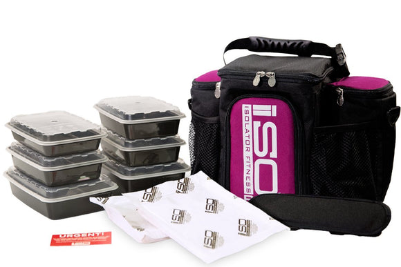 Isolator Fitness 3 Meal ISOBAG Meal Prep Management Insulated Lunch Bag Cooler with 6 Stackable Meal Prep Containers, 2 ISOBRICKS, and Shoulder Strap - MADE IN USA (Fuchsia/Black Accent)