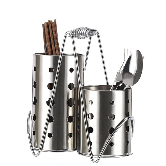 MyLifeUNIT Stainless Steel Tableware Cage Chopsticks Tube Storage Utensil Holder, Circular Hole (4x7 Inch)