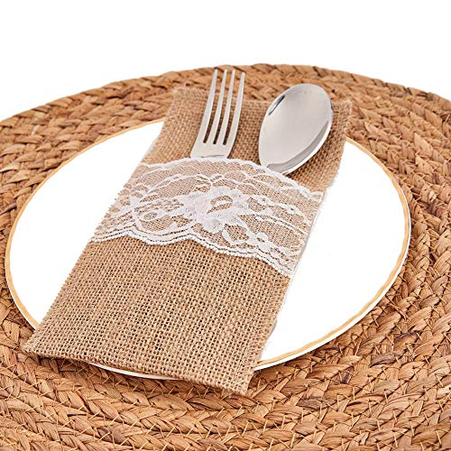 Burlap Lace Utensil Holders 20 Pack Wedding Cutlery Holder Pouch Pouch Bags Knifes Forks Napkin Silverware Holder Bag for Rustic Wedding Party Bridal Shower Decorations