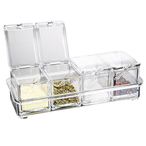 Ikee Design 4 Premium Quality Food Grade Acrylic Condiment Spice Jars w/Serving Spoons in Organizer Tray